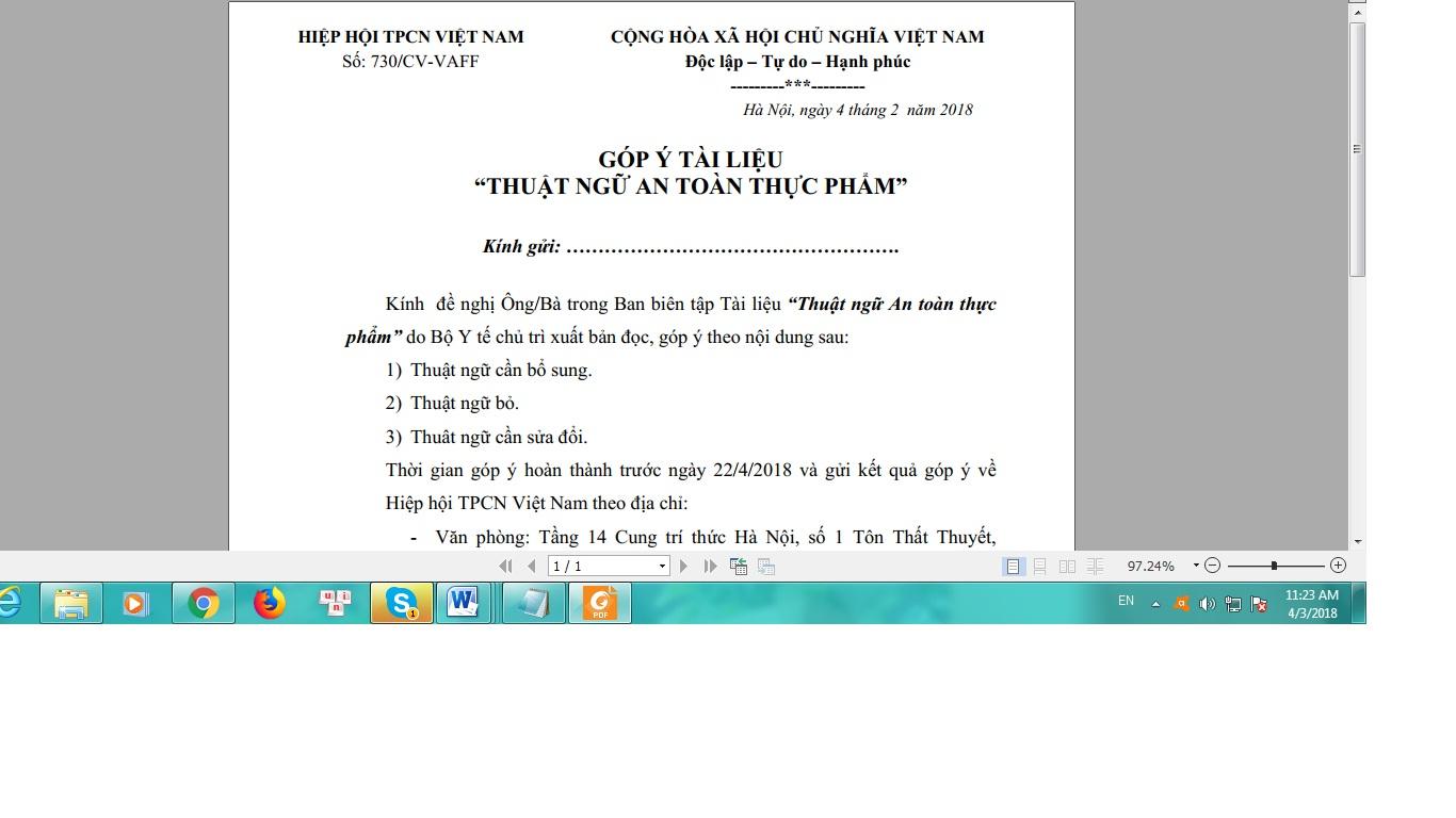 Góp ý dự thảo sách Thuật ngữ ATTP