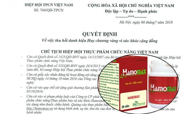Thu hồi danh hiệu Huy chương Vàng vì sức khỏe cộng đồng của sản phẩm Hamomax